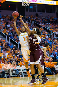 February 28, 2013:  forward Bashaara Graves #12 of the Tennessee Lady Volunteers shoots the ball against Kelsey Bone #3 of the Texas A&M Aggies during the NCAA basketball game between the University of Tennessee  Lady Volunteers and the Texas A&M Aggies at Thompson-Boling Arena in Knoxville, TN