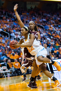 February 28, 2013: forward Bashaara Graves #12 of the Tennessee Lady Volunteers drives to the basket during the NCAA basketball game between the University of Tennessee  Lady Volunteers and the Texas A&M Aggies at Thompson-Boling Arena in Knoxville, TN