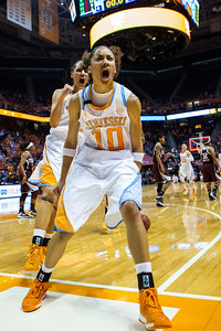 February 28, 2013: guard Meighan Simmons #10 of the Tennessee Lady Volunteers celebrates during  the NCAA basketball game between the University of Tennessee  Lady Volunteers and the Texas A&M Aggies at Thompson-Boling Arena in Knoxville, TN