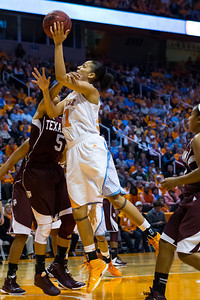 February 28, 2013: forward Cierra Burdick #11 of the Tennessee Lady Volunteers lays the ball in during the NCAA basketball game between the University of Tennessee  Lady Volunteers and the Texas A&M Aggies at Thompson-Boling Arena in Knoxville, TN