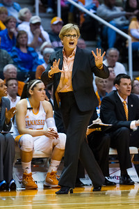 February 28, 2013: head coach Holly Warlick instructs her team during the NCAA basketball game between the University of Tennessee  Lady Volunteers and the Texas A&M Aggies at Thompson-Boling Arena in Knoxville, TN