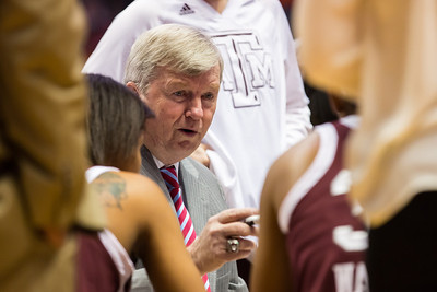 February 28, 2013: head coach Gary Blair of the Texas A&M Aggies instructs his team during the NCAA basketball game between the University of Tennessee  Lady Volunteers and the Texas A&M Aggies at Thompson-Boling Arena in Knoxville, TN