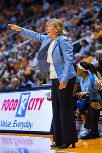 December 2, 2012: Tar Heel Coach Sylvia Hatchell  in action during the NCAA women's basketball game between the University of North Carolina Tar Heels and the University of Tennessee Lady Vols at Thompson-Boling Arena in Knoxville, TN