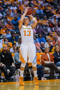 December 2, 2012: guard Taber Spani #13 of the Tennessee Lady Volunteers  in action during the NCAA women's basketball game between the University of North Carolina Tar Heels and the University of Tennessee Lady Vols at Thompson-Boling Arena in Knoxville, TN