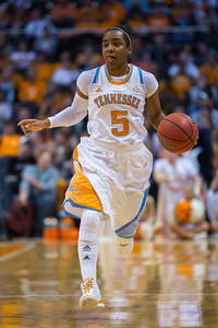 December 2, 2012: point guard Ariel Massengale #5 of the Tennessee Lady Volunteers   in action during the NCAA women's basketball game between the University of North Carolina Tar Heels and the University of Tennessee Lady Vols at Thompson-Boling Arena in Knoxville, TN