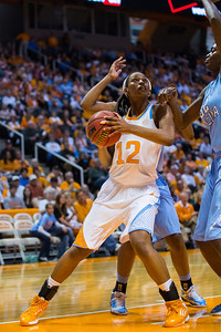 December 2, 2012: Forward Bashaara Graves #12 of the Tennessee Lady Volunteers of the Tennessee Lady Volunteers  in action during the NCAA women's basketball game between the University of North Carolina Tar Heels and the University of Tennessee Lady Vols at Thompson-Boling Arena in Knoxville, TN