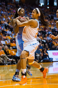 December 2, 2012: center Isabelle Harrison #20 of the Tennessee Lady Volunteers  in action during the NCAA women's basketball game between the University of North Carolina Tar Heels and the University of Tennessee Lady Vols at Thompson-Boling Arena in Knoxville, TN