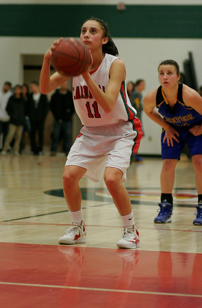 Megan Salinas (11) shoots free throws for Lindsay against Exeter on January 11, 2013.