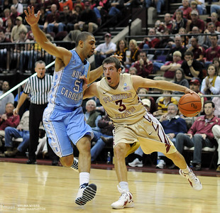 Luke Loucks (3) moves the ball up the court during the FSU vs. UNC basketball game held on Jan. 14th at the Civic Center.