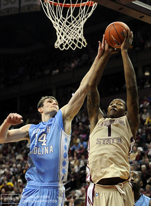 Xavier Gibson (1) shoots the ball during the FSU vs. UNC basketball game held on Jan. 14th at the Civic Center.