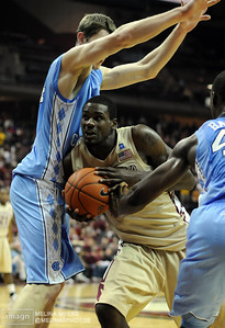 Bernard James (5) tries to maneuver around Tyler Zeller (44) of UNC during the FSU vs. UNC basketball game held on Jan. 14th at the Civic Center.