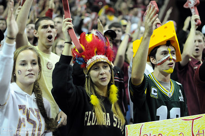 Fans celebrate at the FSU vs. UNC basketball game held on Jan. 14th at the Civic Center.