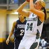 Fitchburg State's Megan Wodzinski takes a shot during Saturday's game against Fisher College.<br /> SENTINEL & ENTERPRISE / BRETT CRAWFORD
