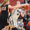 Shikellamy's Tralyn Hummel goes for a shot against Benton's Emily Lockard during Saturday's game in Sunbury.