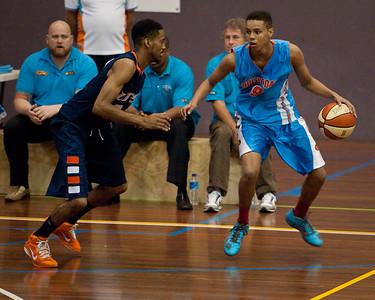 Jamal Robateau, Melvin Johnson III - NBL Pre Season Basketball: Gold Coast Blaze v University of Texas San Antonio; Carrara, Gold Coast, Queensland, Australia. Photos by Des Thureson:  http://disci.smugmug.com.