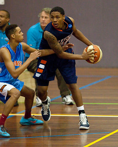 Jamal Robateau, Kannan Burrage - NBL Pre Season Basketball: Gold Coast Blaze v University of Texas San Antonio; Carrara, Gold Coast, Queensland, Australia. Photos by Des Thureson:  http://disci.smugmug.com.