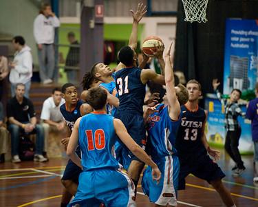 Melvin Johnson III, Jamal Robateau,Igor Nujic - NBL Pre Season Basketball: Gold Coast Blaze v University of Texas San Antonio; Carrara, Gold Coast, Queensland, Australia. Photos by Des Thureson:  http://disci.smugmug.com.