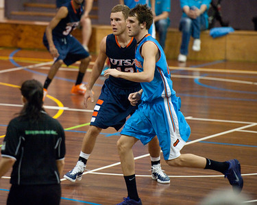 Igor Nujic, Zac Carter - NBL Pre Season Basketball: Gold Coast Blaze v University of Texas San Antonio; Carrara, Gold Coast, Queensland, Australia. Photos by Des Thureson:  http://disci.smugmug.com.