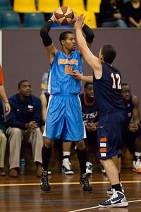 Kenny Barnes, Jeromie Hill - NBL Pre Season Basketball: Gold Coast Blaze v University of Texas San Antonio; Carrara, Gold Coast, Queensland, Australia. Photos by Des Thureson:  http://disci.smugmug.com.