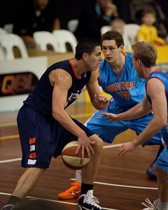 Jeromie Hill, Jarrod Camble - NBL Pre Season Basketball: Gold Coast Blaze v University of Texas San Antonio; Carrara, Gold Coast, Queensland, Australia. Photos by Des Thureson:  http://disci.smugmug.com.