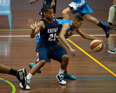 Jamal Robateau, Ryan Whitehead - NBL Pre Season Basketball: Gold Coast Blaze v University of Texas San Antonio; Carrara, Gold Coast, Queensland, Australia. Photos by Des Thureson:  http://disci.smugmug.com.