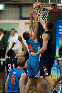 Zac Carter, Jeromie Hill - NBL Pre Season Basketball: Gold Coast Blaze v University of Texas San Antonio; Carrara, Gold Coast, Queensland, Australia. Photos by Des Thureson:  http://disci.smugmug.com.