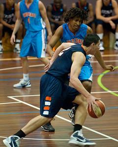 Jeromie Hill, Keba Bhatti - NBL Pre Season Basketball: Gold Coast Blaze v University of Texas San Antonio; Carrara, Gold Coast, Queensland, Australia. Photos by Des Thureson:  http://disci.smugmug.com.