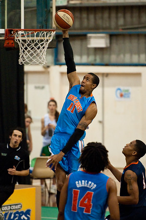 Kenny Barnes, Melvin Johnson III - NBL Pre Season Basketball: Gold Coast Blaze v University of Texas San Antonio; Carrara, Gold Coast, Queensland, Australia. Photos by Des Thureson:  http://disci.smugmug.com.
