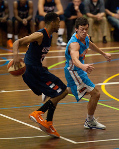 Melvin Johnson III, Jason Cadee - NBL Pre Season Basketball: Gold Coast Blaze v University of Texas San Antonio; Carrara, Gold Coast, Queensland, Australia. Photos by Des Thureson:  http://disci.smugmug.com.