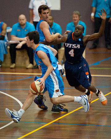 Jason Cadee, Sei Paye - NBL Pre Season Basketball: Gold Coast Blaze v University of Texas San Antonio; Carrara, Gold Coast, Queensland, Australia. Photos by Des Thureson:  http://disci.smugmug.com.