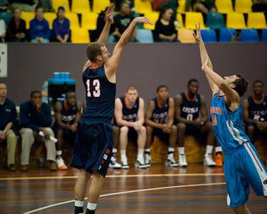 Igor Nujic, Zac Carter - NBL Pre Season Basketball: Gold Coast Blaze v University of Texas San Antonio; Carrara, Gold Coast, Queensland, Australia. Photos by Des Thureson:  http://disci.smugmug.com.