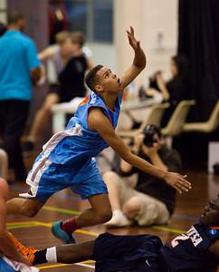 Jamal Robateau, Kalif Bakare - NBL Pre Season Basketball: Gold Coast Blaze v University of Texas San Antonio; Carrara, Gold Coast, Queensland, Australia. Photos by Des Thureson:  http://disci.smugmug.com.
