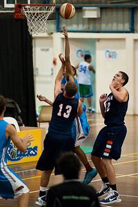 Igor Nujic, Jamal Robateau - NBL Pre Season Basketball: Gold Coast Blaze v University of Texas San Antonio; Carrara, Gold Coast, Queensland, Australia. Photos by Des Thureson:  http://disci.smugmug.com.