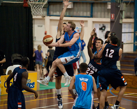 Alex Vouyoukas, Brendan Teys, Jeromie Hill - NBL Pre Season Basketball: Gold Coast Blaze v University of Texas San Antonio; Carrara, Gold Coast, Queensland, Australia. Photos by Des Thureson:  http://disci.smugmug.com.
