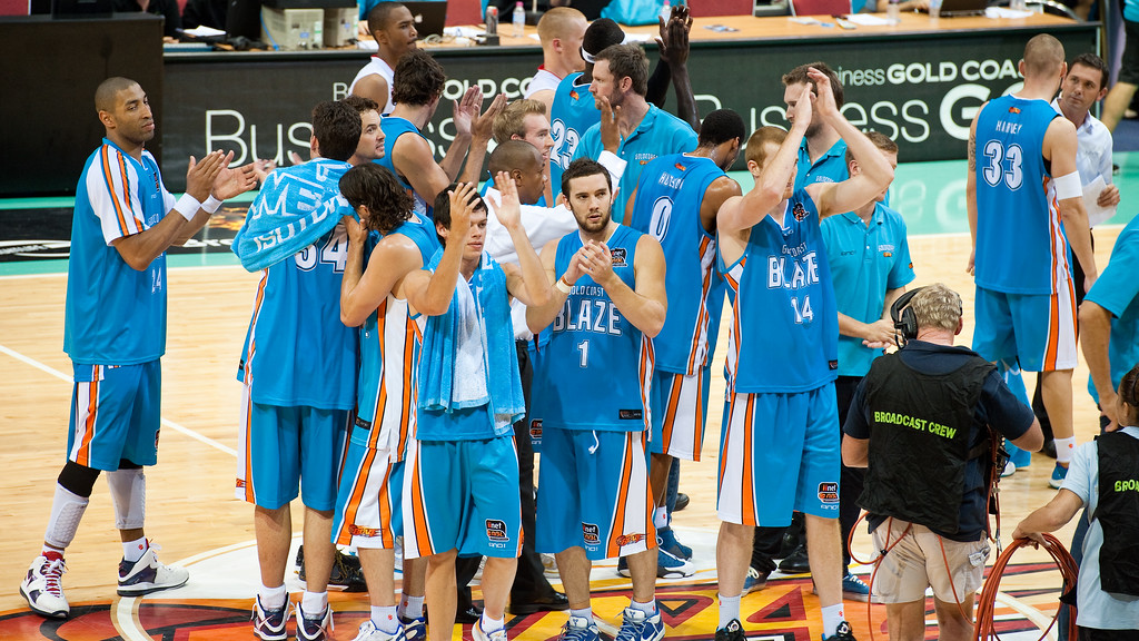 "95-79 Blaze winners - Gold Coast Blaze v Adelaide 36ers NBL Basketball; Queensland, Australia; Sunday 13 February 2011. Photos by Des Thureson:  <a href=""http://disci.smugmug.com"">http://disci.smugmug.com</a>"