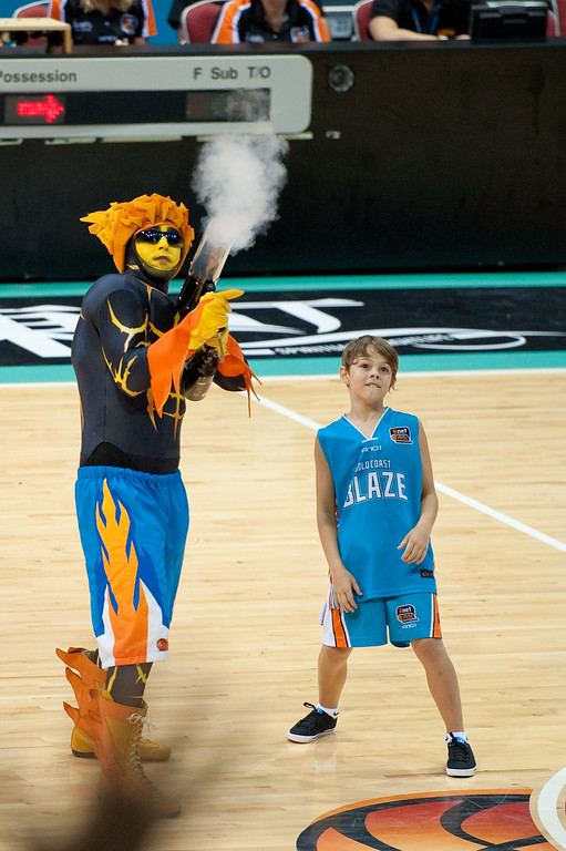 "Pop, Pow, Bang! - Gold Coast Blaze v Adelaide 36ers NBL Basketball; Queensland, Australia; Sunday 13 February 2011. Photos by Des Thureson:  <a href=""http://disci.smugmug.com"">http://disci.smugmug.com</a>"