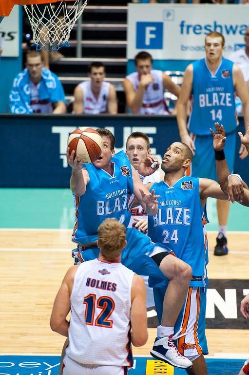 "Sephen Hoare - Gold Coast Blaze v Adelaide 36ers NBL Basketball; Queensland, Australia; Sunday 13 February 2011. Photos by Des Thureson:  <a href=""http://disci.smugmug.com"">http://disci.smugmug.com</a>"