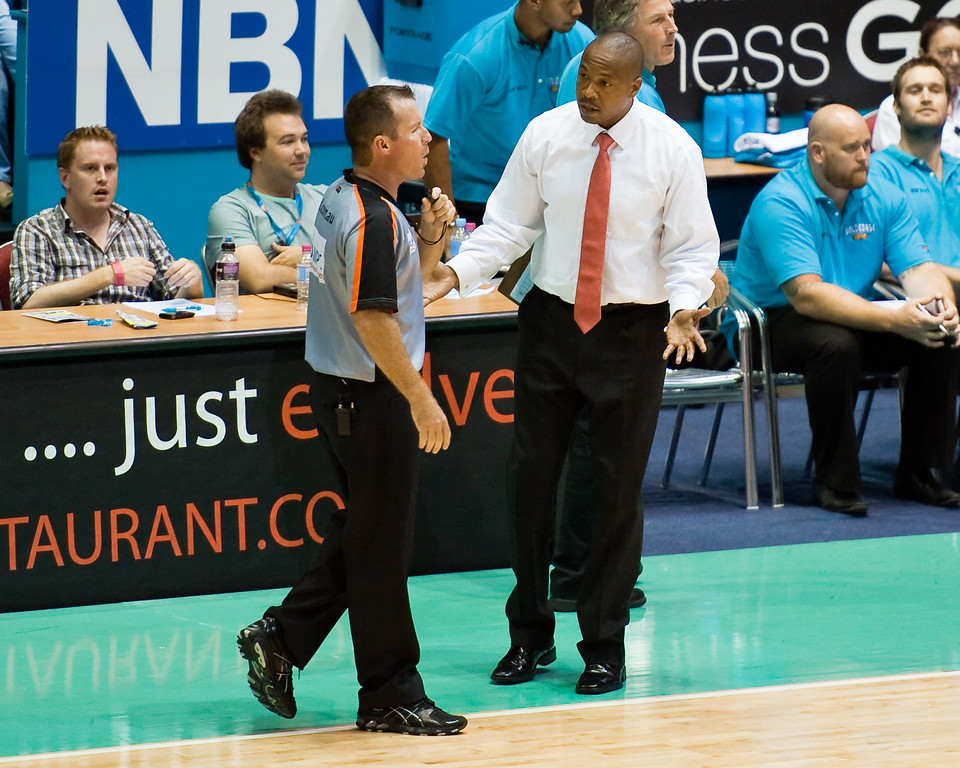 """Blaze Head Coach Joey Wright doesn't like the Jump Ball Call, a possession 'lost' due to the possession arrow - Gold Coast Blaze v Adelaide 36ers NBL Basketball; Queensland, Australia; Sunday 13 February 2011. Photos by Des Thureson:  <a href=""""http://disci.smugmug.com"""">http://disci.smugmug.com</a>"""