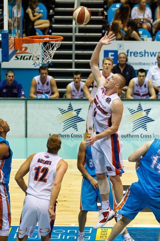 "Adam Ballinger - Gold Coast Blaze v Adelaide 36ers NBL Basketball; Queensland, Australia; Sunday 13 February 2011. Photos by Des Thureson:  <a href=""http://disci.smugmug.com"">http://disci.smugmug.com</a>"
