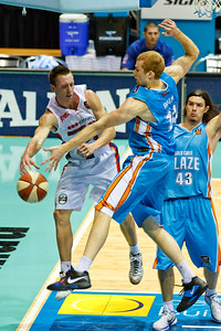 MItch Creek v Tom Garlepp & Chris Goulding - Gold Coast Blaze v Adelaide 36ers NBL Basketball; Queensland, Australia; Sunday 13 February 2011. Photos by Des Thureson:  http://disci.smugmug.com