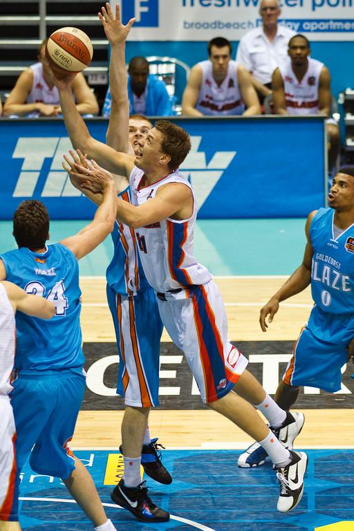 "Daniel Johnson - Gold Coast Blaze v Adelaide 36ers NBL Basketball; Queensland, Australia; Sunday 13 February 2011. Photos by Des Thureson:  <a href=""http://disci.smugmug.com"">http://disci.smugmug.com</a>"
