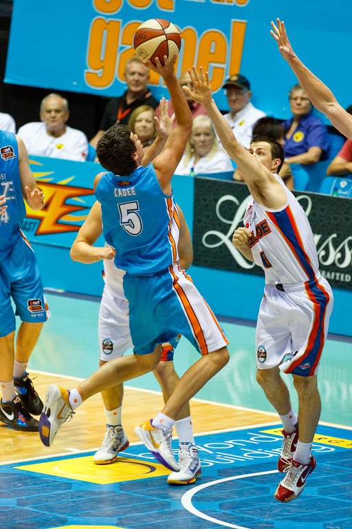 "Jason Cadee - Gold Coast Blaze v Adelaide 36ers NBL Basketball; Queensland, Australia; Sunday 13 February 2011. Photos by Des Thureson:  <a href=""http://disci.smugmug.com"">http://disci.smugmug.com</a>"
