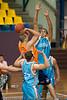Dusty Rychart shoots under pressure from Bennett Davison - Gold Coast Blaze v Cairns Taipans pre-season NBL basketball game, Saturday 18 September 2010, Carrara, Gold Coast, Australia.