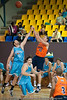 Alex Loughton & Anthony Petrie continue their battle - Gold Coast Blaze v Cairns Taipans pre-season NBL basketball game, Saturday 18 September 2010, Carrara, Gold Coast, Australia.