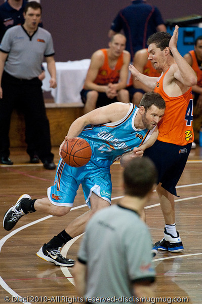 Anthony Petrie v Aex Loughton - their ongong battle continues - Gold Coast Blaze v Cairns Taipans pre-season NBL basketball game, Saturday 18 September 2010, Carrara, Gold Coast, Australia.