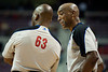 Dec 5, 2012; Auburn Hills, MI, USA; NBA referees Derek Richardson (63) and  Leon Wood (right) during the second quarter between the Detroit Pistons and the Golden State Warriors at The Palace. Mandatory Credit: Tim Fuller-USA TODAY Sports