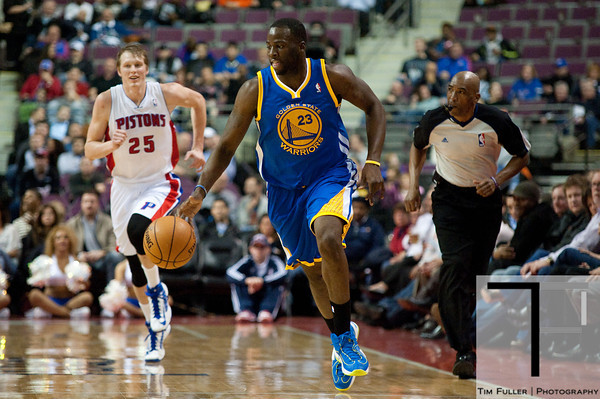 Dec 5, 2012; Auburn Hills, MI, USA; Golden State Warriors small forward Draymond Green (23) brings the ball up court against the Detroit Pistons during the second quarter at The Palace. Mandatory Credit: Tim Fuller-USA TODAY Sports
