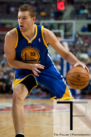 Dec 5, 2012; Auburn Hills, MI, USA; Golden State Warriors power forward David Lee (10) during the second quarter against the Detroit Pistons at The Palace. Mandatory Credit: Tim Fuller-USA TODAY Sports