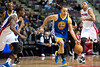 Dec 5, 2012; Auburn Hills, MI, USA; Golden State Warriors point guard Stephen Curry (30) brings the ball up court against the Detroit Pistons during the second quarter at The Palace. Mandatory Credit: Tim Fuller-USA TODAY Sports