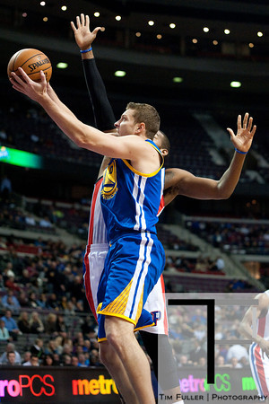 Dec 5, 2012; Auburn Hills, MI, USA; Golden State Warriors power forward David Lee (10) gtb\ against the Detroit Pistons during the first quarter at The Palace. Mandatory Credit: Tim Fuller-USA TODAY Sports